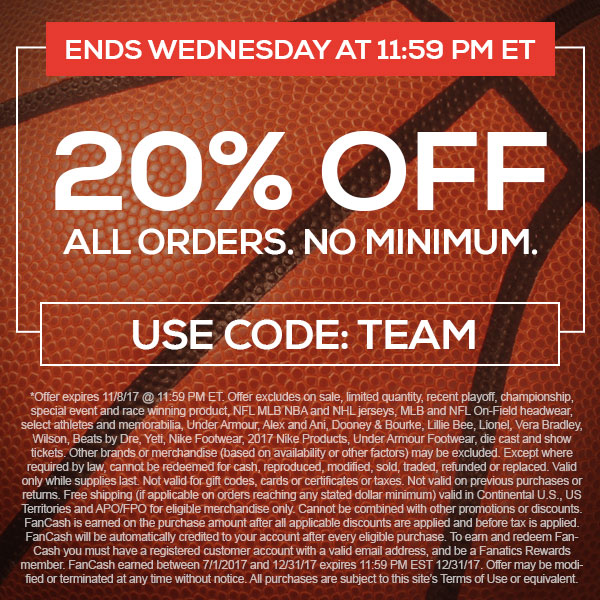 20% Off All Orders, No Minimum. Use Code: TEAM